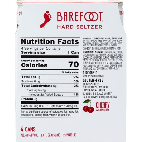 Barefoot Hard Seltzer Cherry & Cranberry 250mL 4 Pack BACK