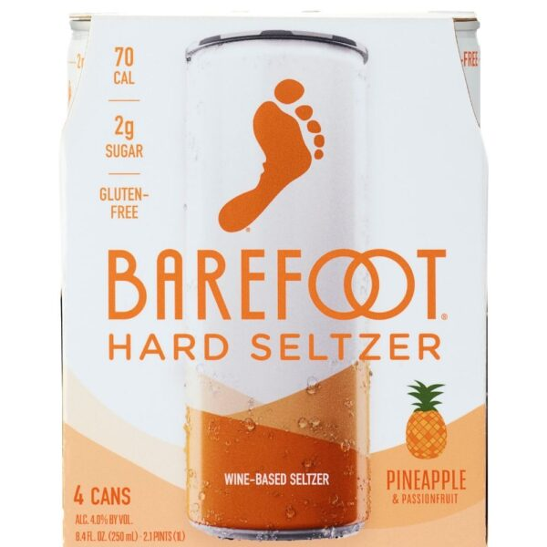 Barefoot Hard Seltzer Pineapple & Passionfruit 250mL 4 Pack