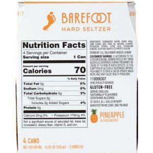 Barefoot Hard Seltzer Pineapple & Passionfruit 250mL 4 Pack