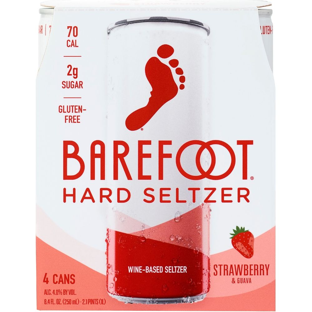 Barefoot Hard Seltzer Strawberry & Guava 250mL 4 Pack